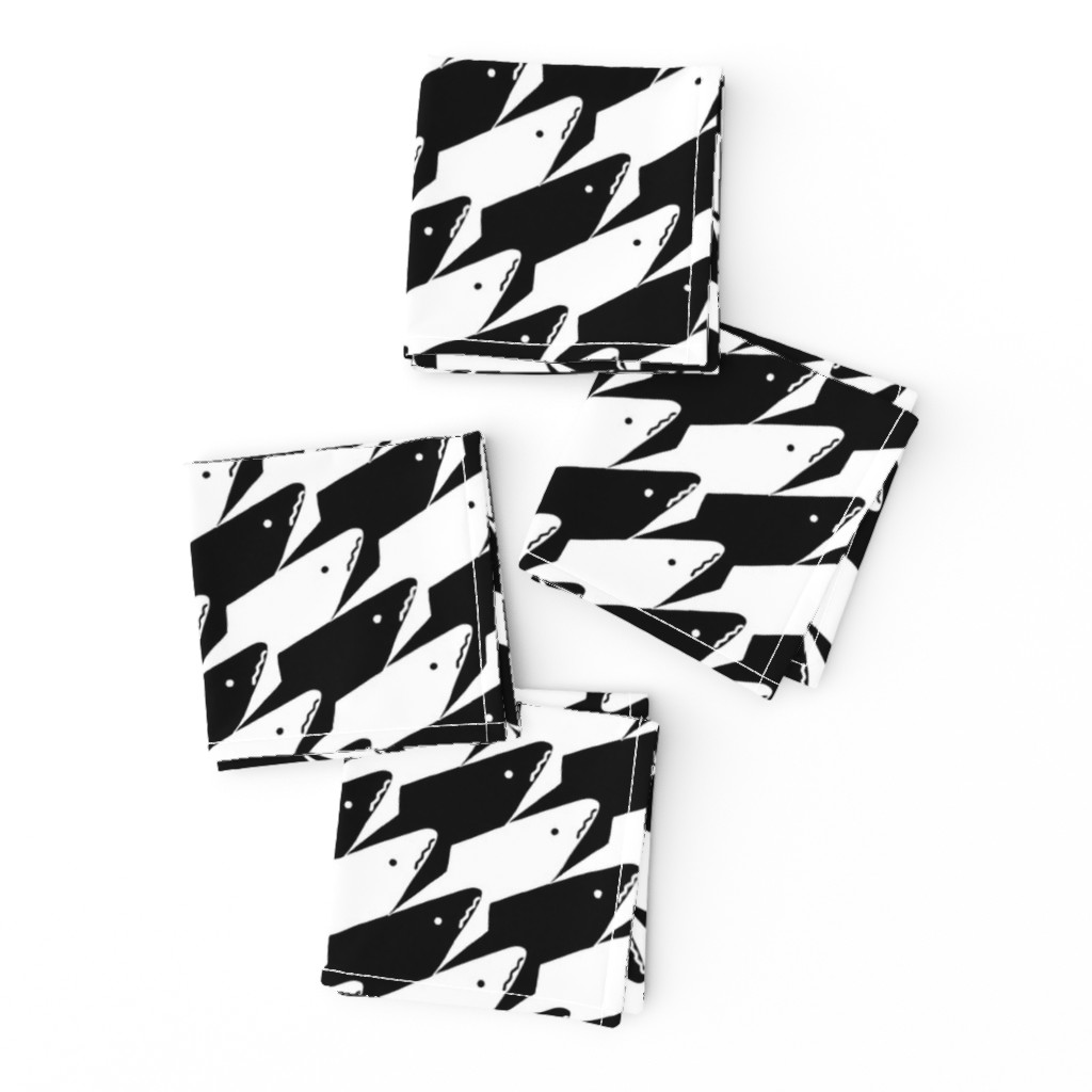 Frizzle Cocktail Napkins featuring Sharkstooth Sharks Pattern Repeat in Black and White by paper_and_frill