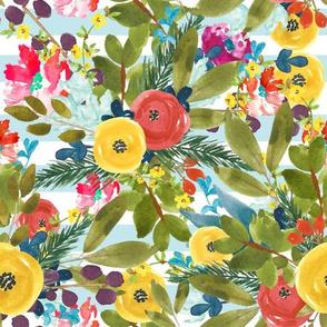 Watercolor Roses & Stripes