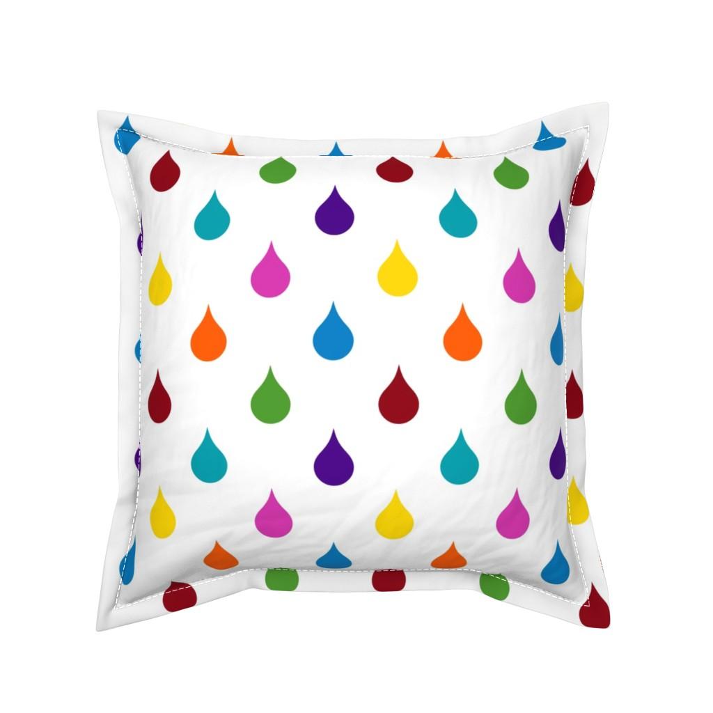 Serama Throw Pillow featuring Rainbow Raindrops by jozanehouse