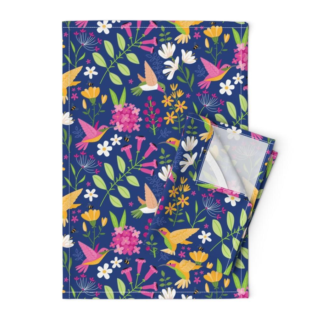 Orpington Tea Towels featuring Hummingbirds by lisa_kubenez