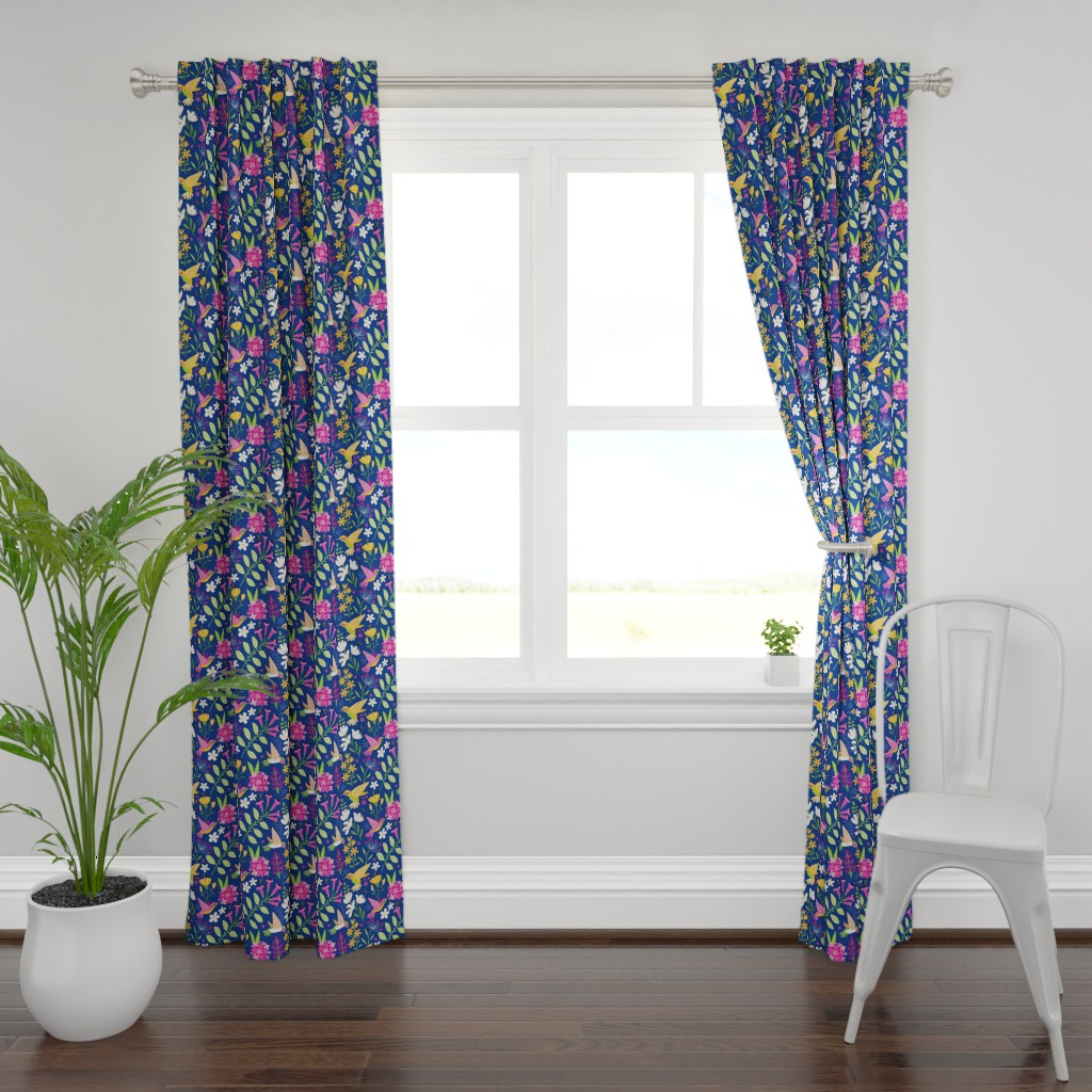 Plymouth Curtain Panel featuring Hummingbirds by lisa_kubenez