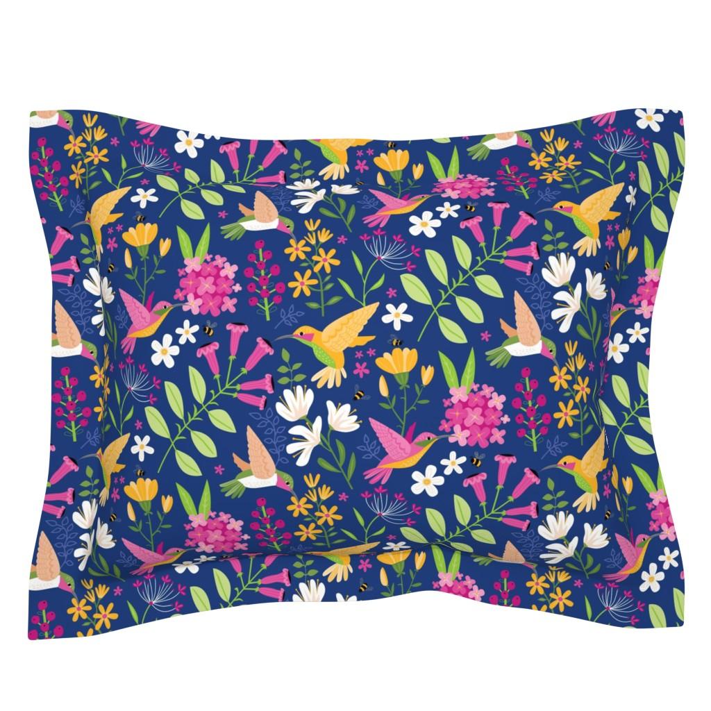 Sebright Pillow Sham featuring Hummingbirds by lisa_kubenez