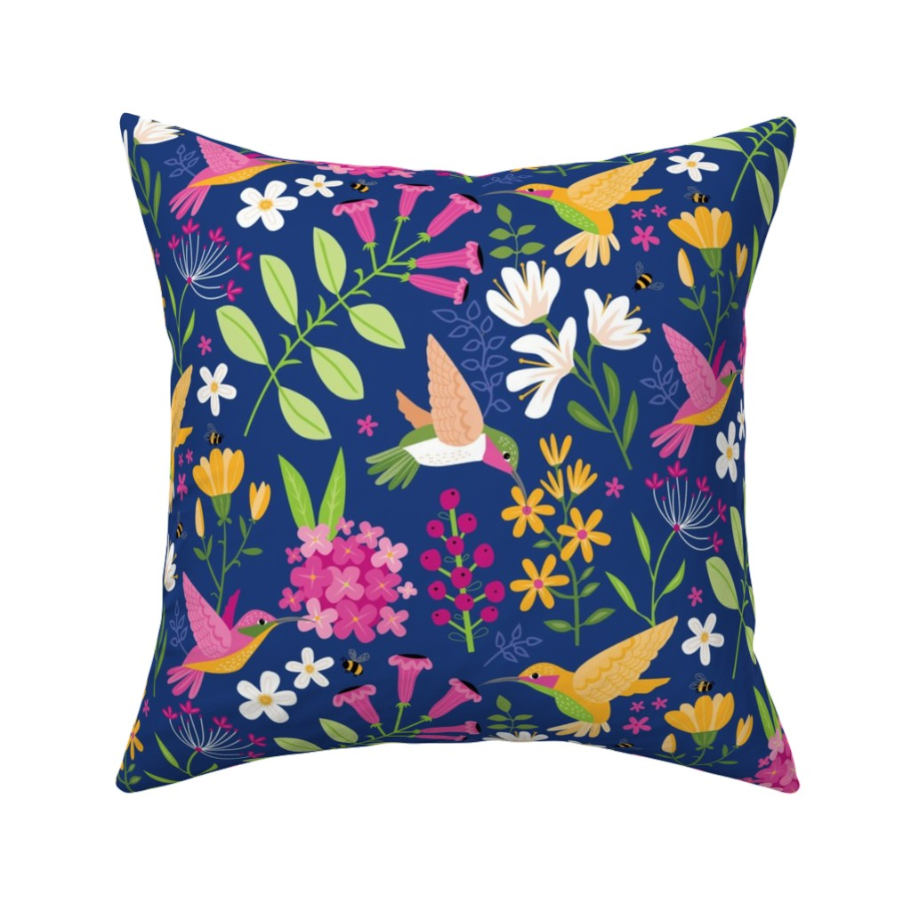 Catalan Throw Pillow featuring Hummingbirds by lisa_kubenez