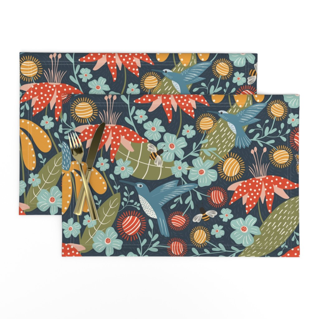 Lamona Cloth Placemats featuring Pollen Movers by melarmstrong