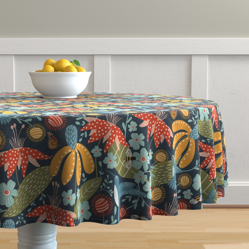 Malay Round Tablecloth featuring Pollen Movers by melarmstrong