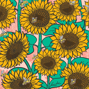 Cheery Sunflowers on Pink