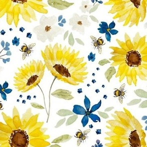 sunflowers and bees watercolor
