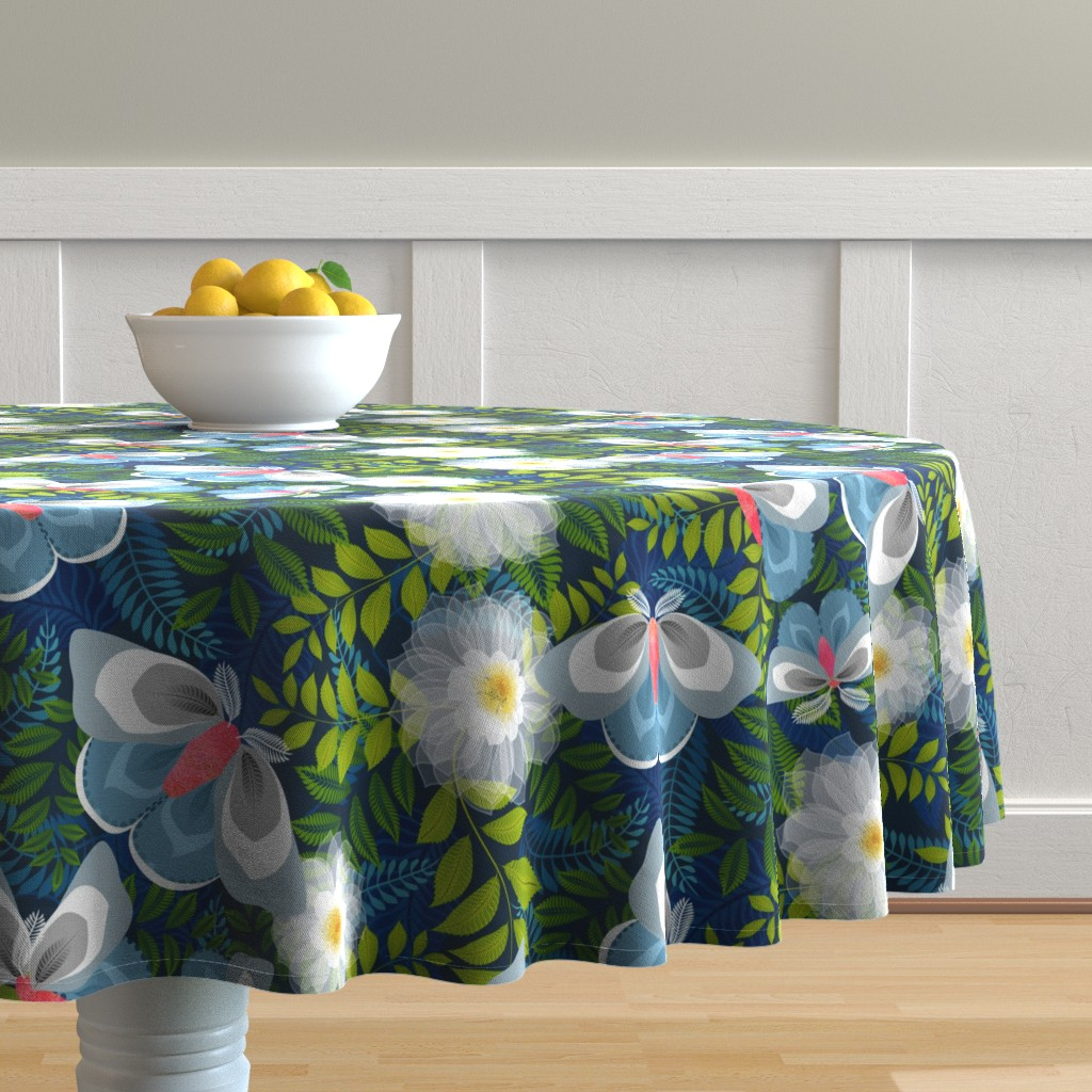 Malay Round Tablecloth featuring Night moth pollinators by vo_aka_virginiao