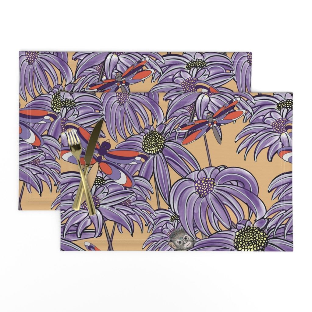 Lamona Cloth Placemats featuring Dragonfllies are Beautiful 2 purple and yellow by debra_may_himes,_asid