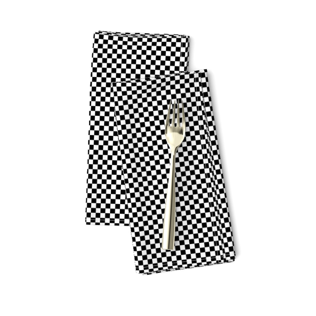 Amarela Dinner Napkins featuring Black and White Checkerboard 1/4 inch-Check by paper_and_frill