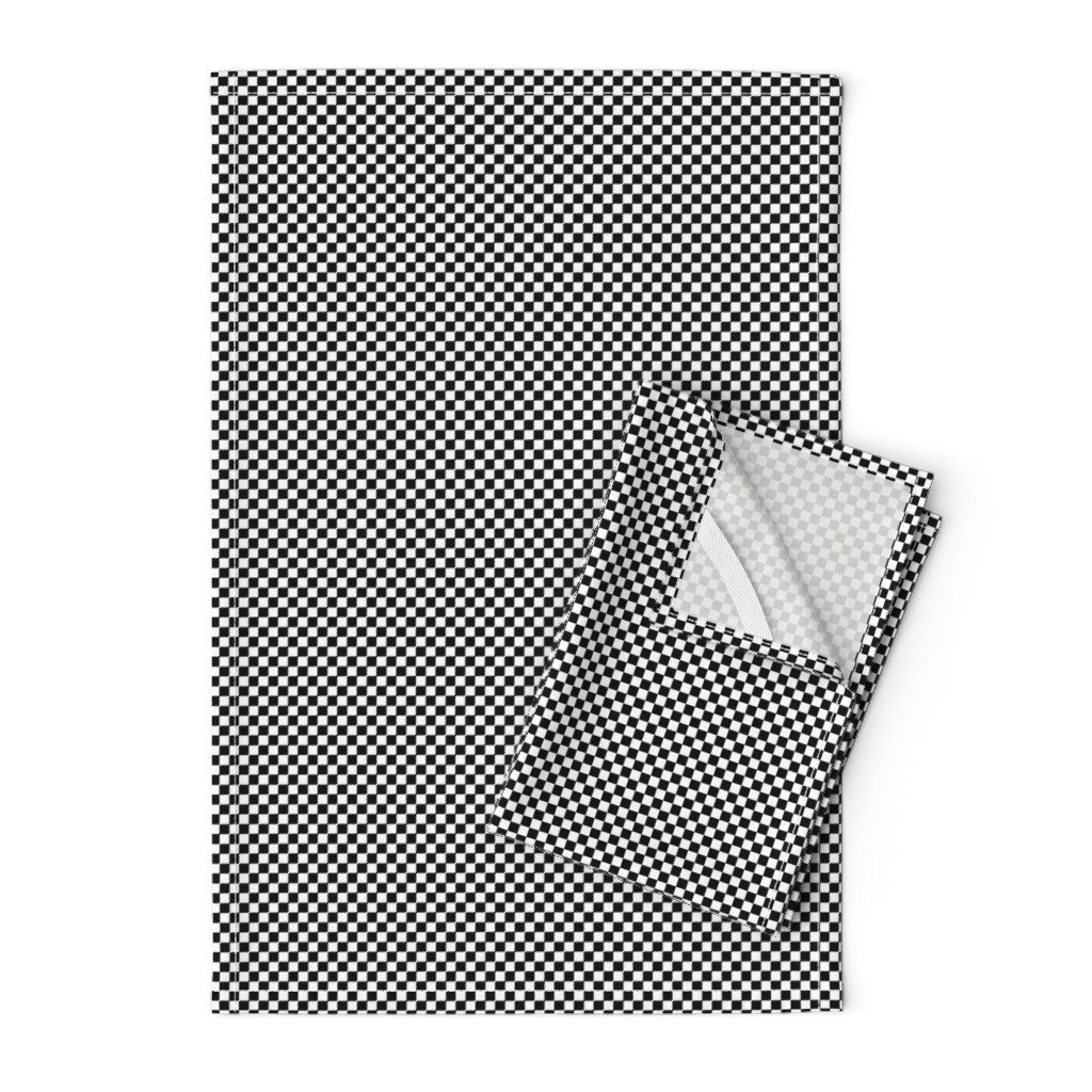 Orpington Tea Towels featuring Black and White Checkerboard 1/4 inch-Check by paper_and_frill