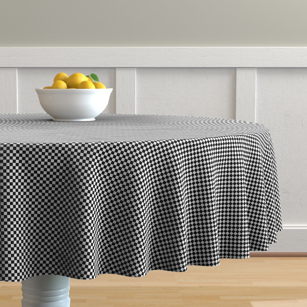 Malay Round Tablecloth featuring Black and White Checkerboard 1/4 inch-Check by paper_and_frill