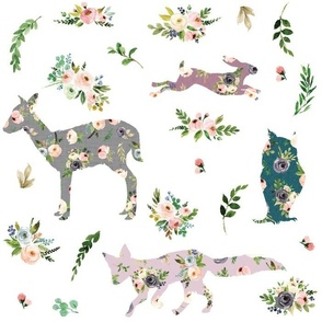 patchwork floral woodland animals