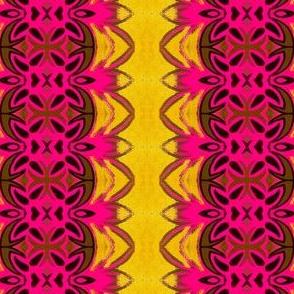 pink ornate emblem yellow borders