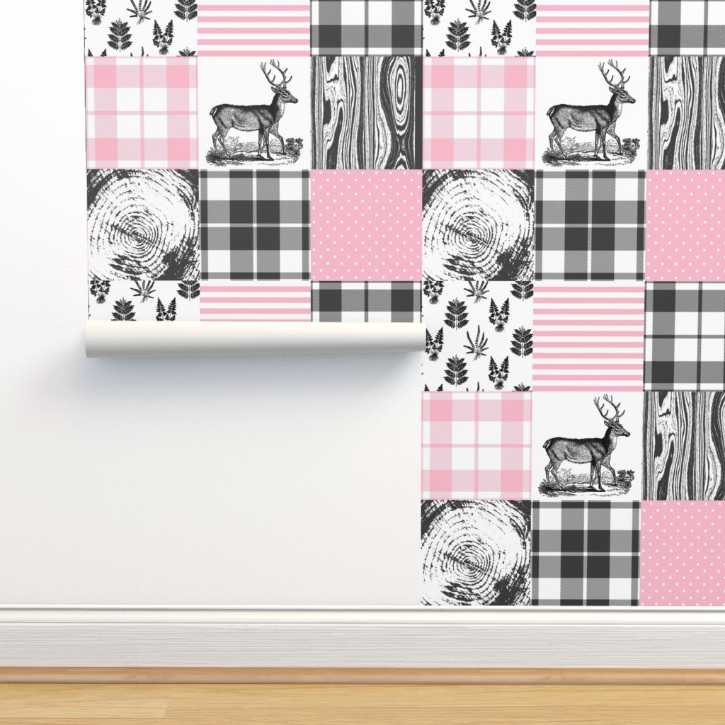 Isobar Durable Wallpaper featuring Pink hunting cheater quilt by whimsical_brush