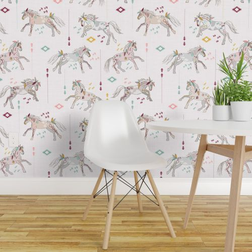 Awesome Wallpaper War Horses Light Pink With Mustard Creativecarmelina Interior Chair Design Creativecarmelinacom
