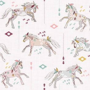 War horses(light pink with mustard)