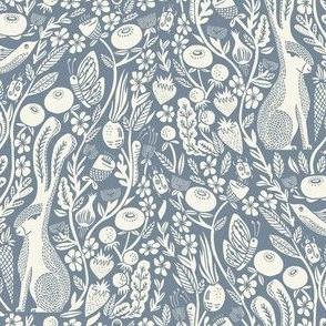 hare linocut fabric - botanical linocut wood block fabric, block print fabric, andrea lauren design - blue 778899