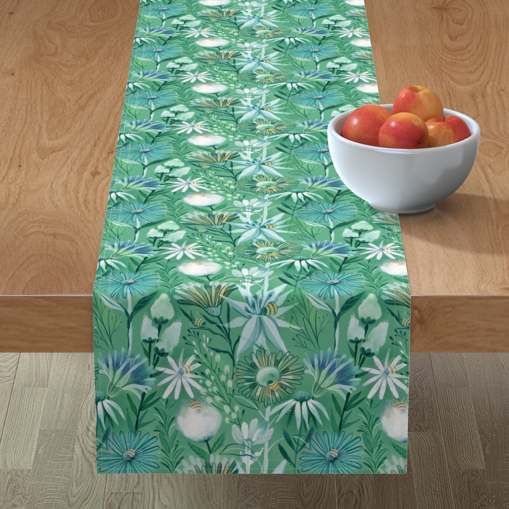 Minorca Table Runner featuring Pollinators bees  flowers by kostolom3000