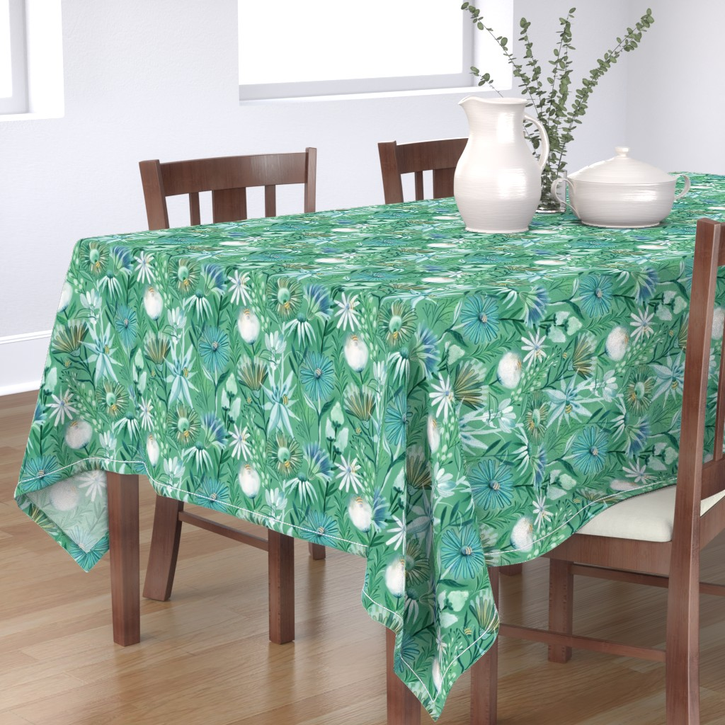 Bantam Rectangular Tablecloth featuring Pollinators bees  flowers by kostolom3000