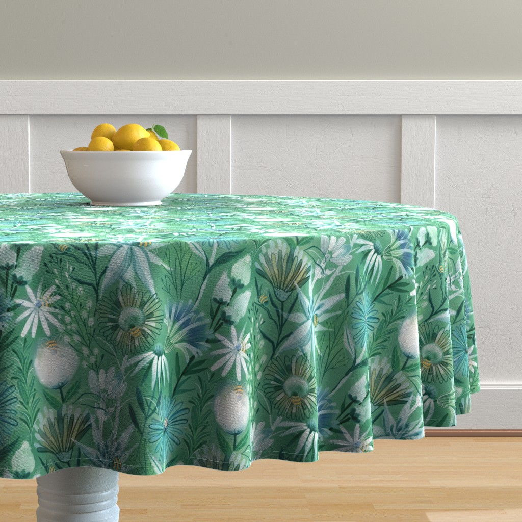 Malay Round Tablecloth featuring Pollinators bees  flowers by kostolom3000