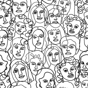 LARGE face fabric - black and white line drawing fabric, continuous line fabric, figure drawing fabric, art school fabric, women fabric, face fabric - black and white