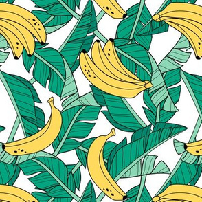 bananas and leaves - white