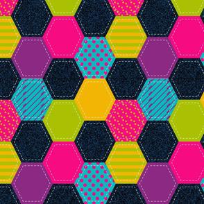 Bright Denim Hexagon Patchwork