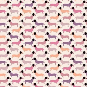 Vintage doxie sausage dogs dachshund illustration pattern gender neutral pastel pink SMALL