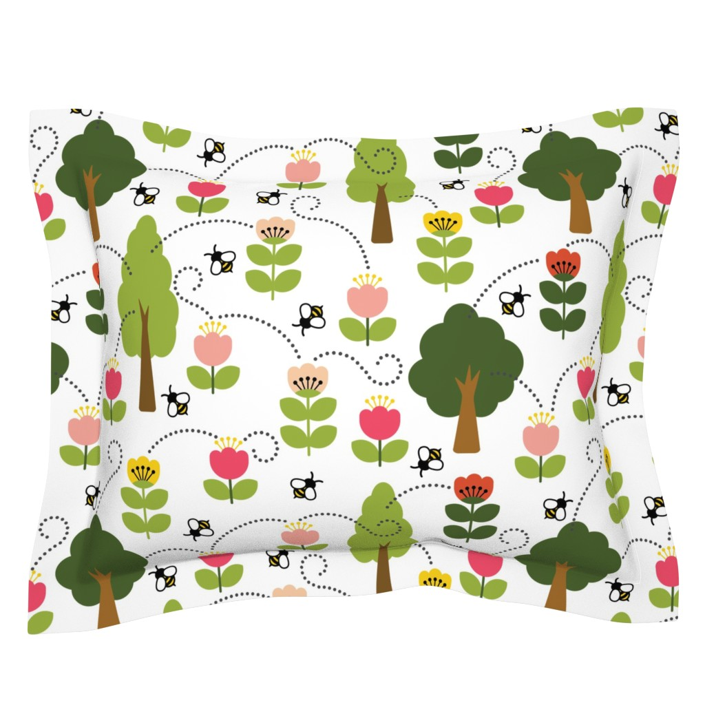 Sebright Pillow Sham featuring Bee-zy Pollinators by twigged