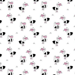 Little Pelican and fish friends of the sea summer black and white scandinavian birds girls pink SMALL
