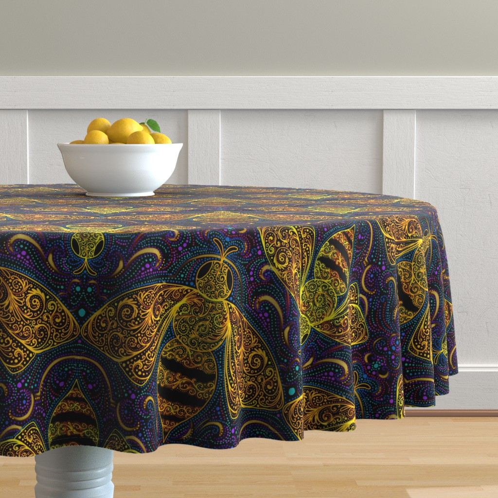 Malay Round Tablecloth featuring Golden filigree bees by beesocks