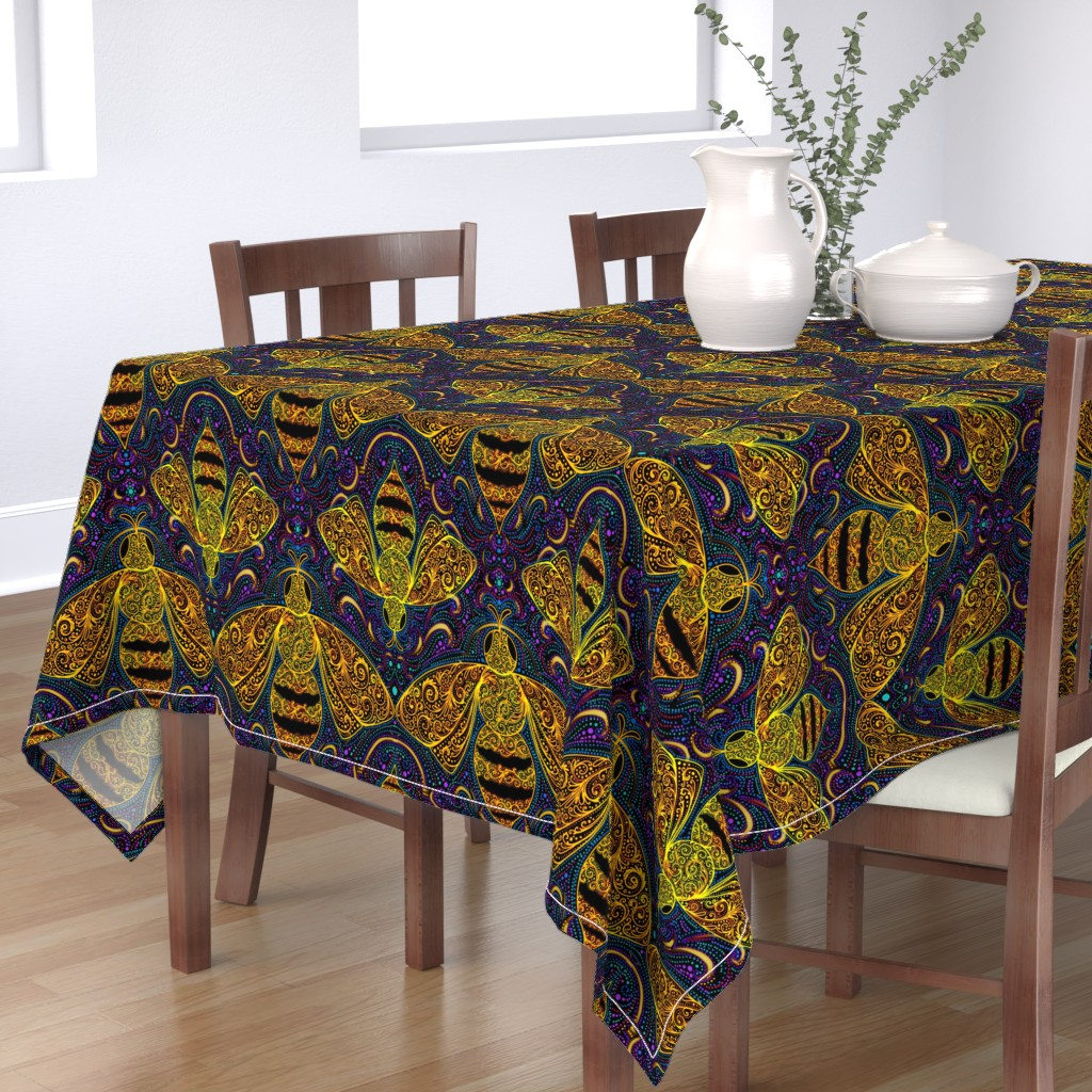 Bantam Rectangular Tablecloth featuring Golden filigree bees by beesocks