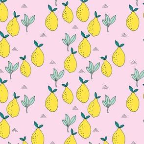 Little lemon fruit garden organic green farmer's market theme lemonade yellow pink