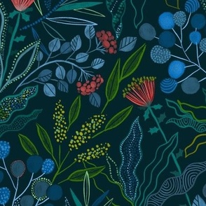 Botanical Australian flora design. Plants, leaves and flowers.