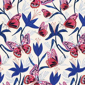 lilies and butterflies - cream