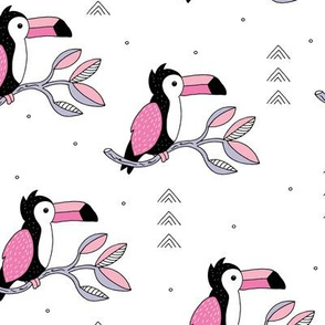 Quirky jungle toucan birds sweet wild life rainforest animals illustration and leaves summer pink girls