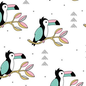 Quirky jungle toucan birds sweet wild life rainforest animals illustration and leaves summer pink blue yellow girls