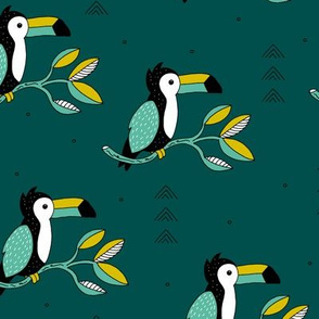 Quirky jungle toucan birds sweet wild life rainforest animals illustration and leaves summer teal mustard yellow boys