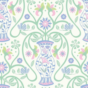 Greek Vase Floral Botanical Pastel Pink Green Blue White