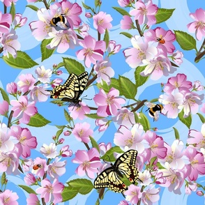 Flowers of apple and Machaons