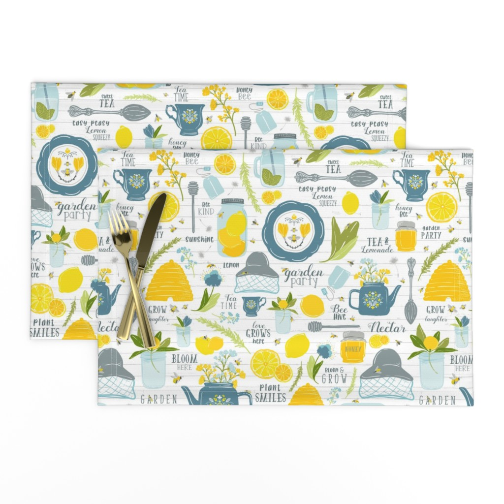 Lamona Cloth Placemats featuring Sweet Tea + Bees // Pollinator Garden Party // Vintage Tea Pot, Cup, Spoon // Honey Jar, Citrus, Lemon, Orange, branches, blooms, mason jar, insects, summer, tea, bee hive, bee keeper, hat, nectar by zirkus_design