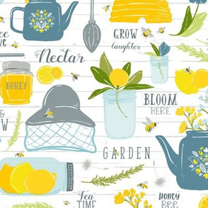Sweet Tea + Bees // Pollinator Garden Party // Vintage Tea Pot, Cup, Spoon // Honey Jar, Citrus, Lemon, Orange, branches, blooms, mason jar, insects, summer, tea, bee hive, bee keeper, hat, nectar