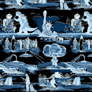 Cold War Apocalypse  Navy Blue on Black