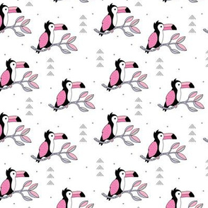 Quirky jungle toucan birds sweet wild life rainforest animals illustration and leaves summer pink girls SMALL