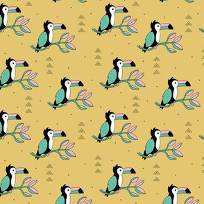 Quirky jungle toucan birds sweet wild life rainforest animals illustration and leaves summer mustard yellow pink blue SMALL