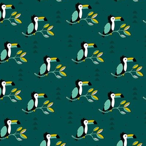 Quirky jungle toucan birds sweet wild life rainforest animals illustration and leaves summer teal mustard yellow boys SMALL