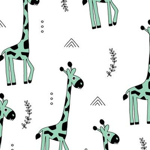 Giraffe friends wild life animals kids design summer mint