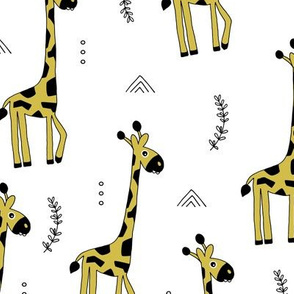 Giraffe friends wild life animals baby nursery kids design summer yellow