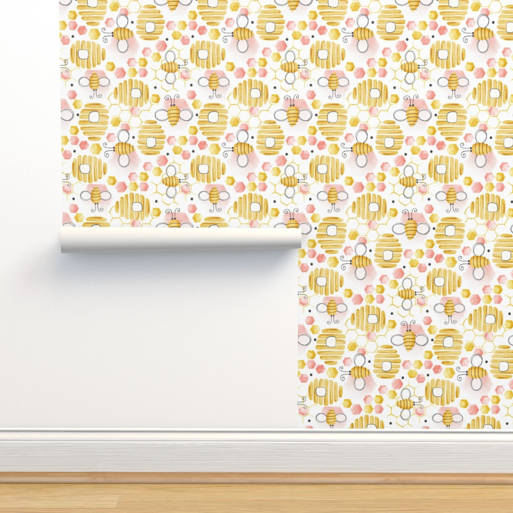 Isobar Durable Wallpaper featuring Bee's Knees - Watercolor Blush Pink by heatherdutton